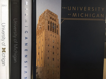 Save time and money by reserving your yearbooks for the next four years. The Freshman Four Pack delivers four consecutive volumes of the Michiganensian Yearbook, starting with the current year.  Photo depicts a sample package. Current offer starts with 2020–2021 Michiganensian.