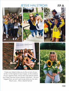 """Full Page - Option A: One full page (8.5"""" x 11"""") commemorative ad in the 2019-2020 yearbook with your choice of pictures and messaging for your graduating senior. Please no more than five photos and 50 words (not including signature i.e.: Love Mom & Dad, etc).  Each image uploaded must be less than 1MB and a minimum of 300 dpi.   A member of our staff will be in contact with you if there are any questions or issues with your message or images. A proof will be sent to you for review and approval before going to press."""