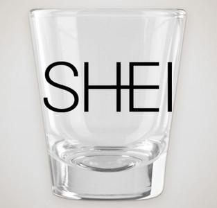1.75 oz. clear shot glass with SHEI logo