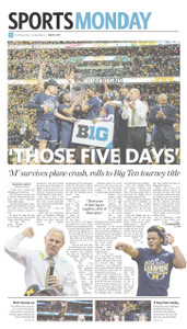 """A glossy print of the March 13, 2017 Sports Monday front page following Michigan's Big Ten tournament championship victory on March 12, 2017. Poster size = 11"""" x 17"""""""