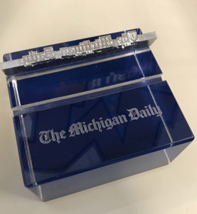 Michigan Daily Blue Square Paperweight With Two Grooves