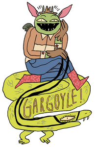 """2.6"""" x 4"""" sticker with glossy finish on white background, specially designed for this year's biennial Gargtober"""