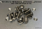 M6-1.00 x 10MM Button Head Socket Cap Screws ISO 7380 SS (Pack of 10)