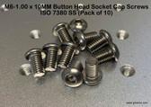 M6-1.00 x 10MM Button Head Socket Cap Screws ISO 7380 SS (Pack of 10)