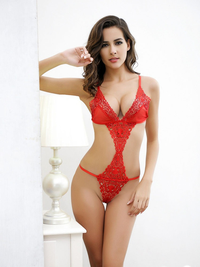 Intimate Teddy Bodysuit Lingerie With Open Front And Sides In Red Equipped With Cut Out Sides And Front With V String Bottom