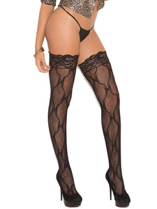 Thigh High Stockings With Lace Top Equipped With Backseam And Are Stretchable