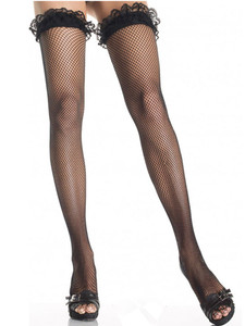 Black Fishnet Stockings With Lace Top And Are Stretchable
