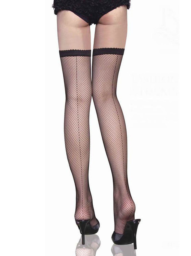 Black Fishnet Stockings With Backseam And Are Stretchable