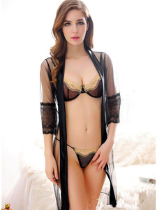 Seductive Sheer Robe Lingerie With Bra And G String Equipped With Three Quarter Sleeves