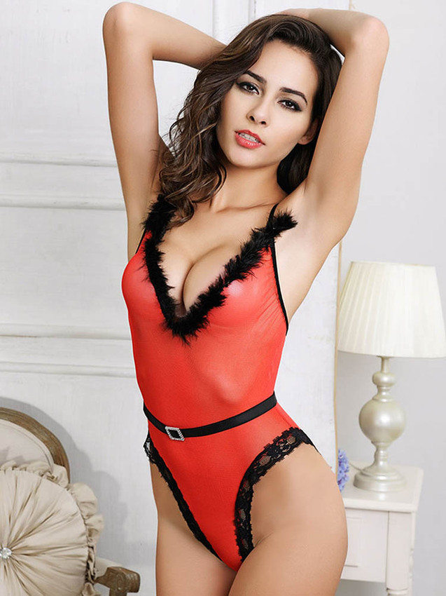 V Front Teddy Bodysuit Lingerie With Removable Velvet Belt In Red Equipped With Rhinestone Buckle