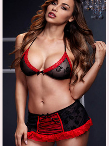 Lace Trimmed Sexy Bra And Mini Skirt Lingerie Set Equipped With Elasticated Waist And Ruffle Trim