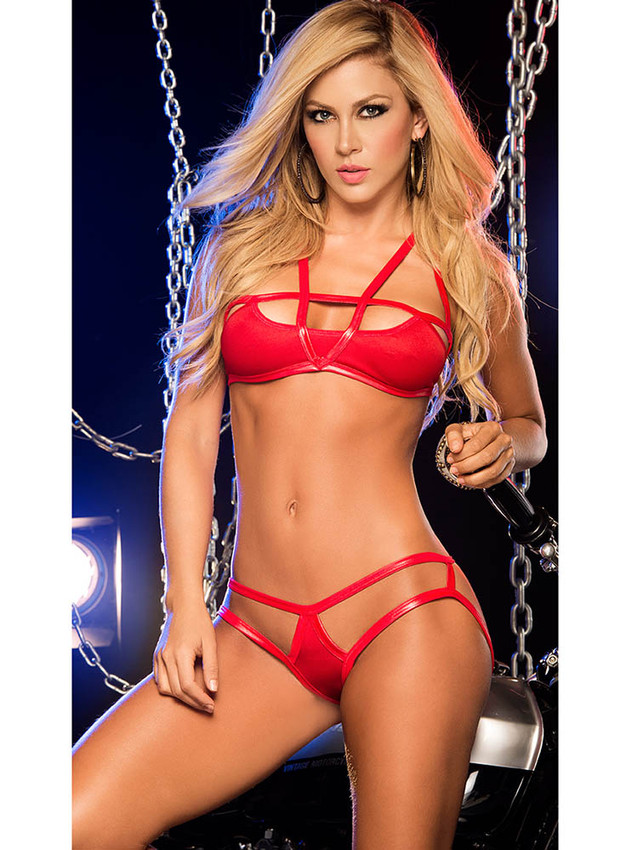 Seductive Bra And Panty Lingerie Set With Vinyl Straps Design And Adjustable Back Ties In Red