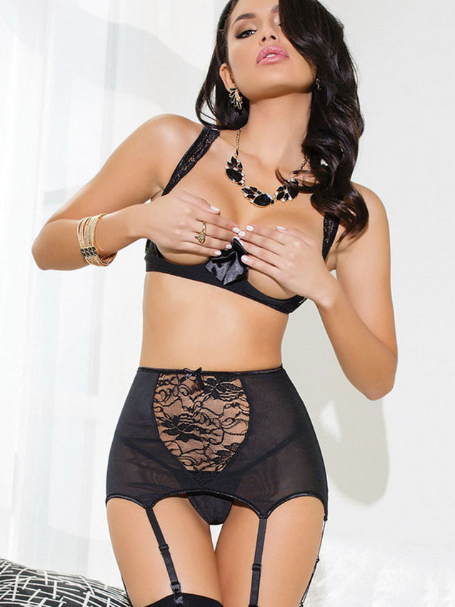 High Waisted Lingerie Set With Garter Slips Equipped With Open Bust And Adjustable Shoulder Straps