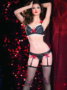 Polka Dot Lingerie Set With Garter Slips Equipped With Sexy Lace Waist And Adjustable Shoulder Straps