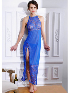 Sexy Sleeveless Chemise Gown Lingerie In Blue With Floral Lace And Sheer Mesh Design