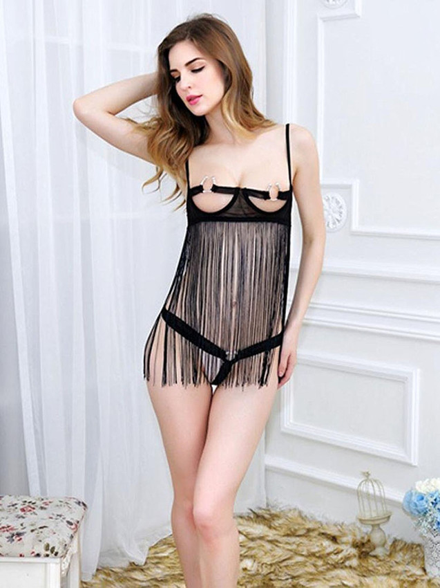 Chemise Slip Lingerie With Tassel Design In Black Equipped With Hook And Eye Back Closure And C Ring Bust Design