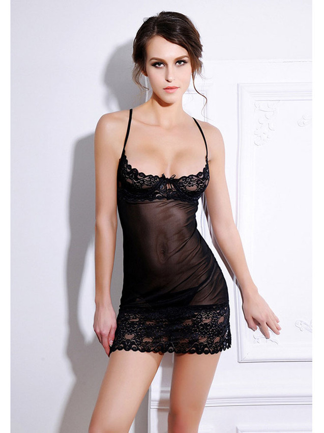 a78b29e8d0 Sexy Chemise Slip Lingerie With Demi Cup Design In Black Equipped With Sheer  Lace Hem Design