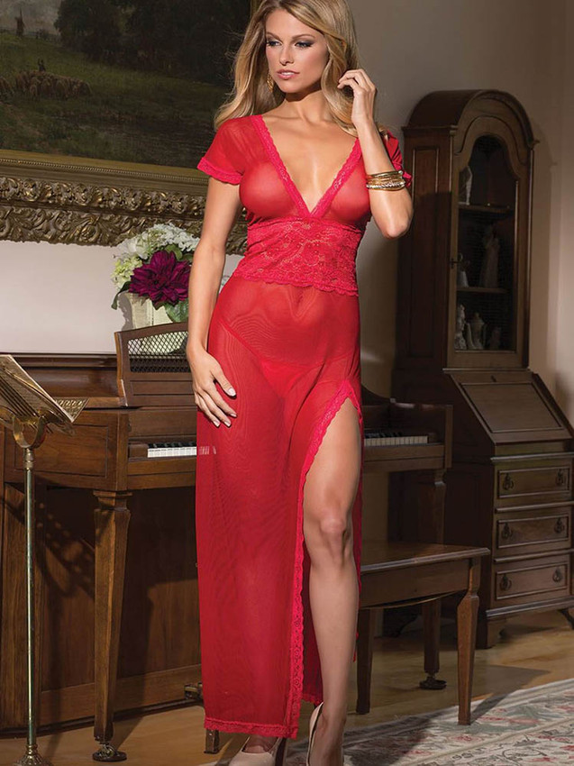 Romantic Red Chemise Gown Lingerie With Deep V Neck Front And Back With A Side Slit Design