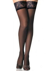 Semi Sheer Thigh High Stockings With Lace Top That Are Stretchable