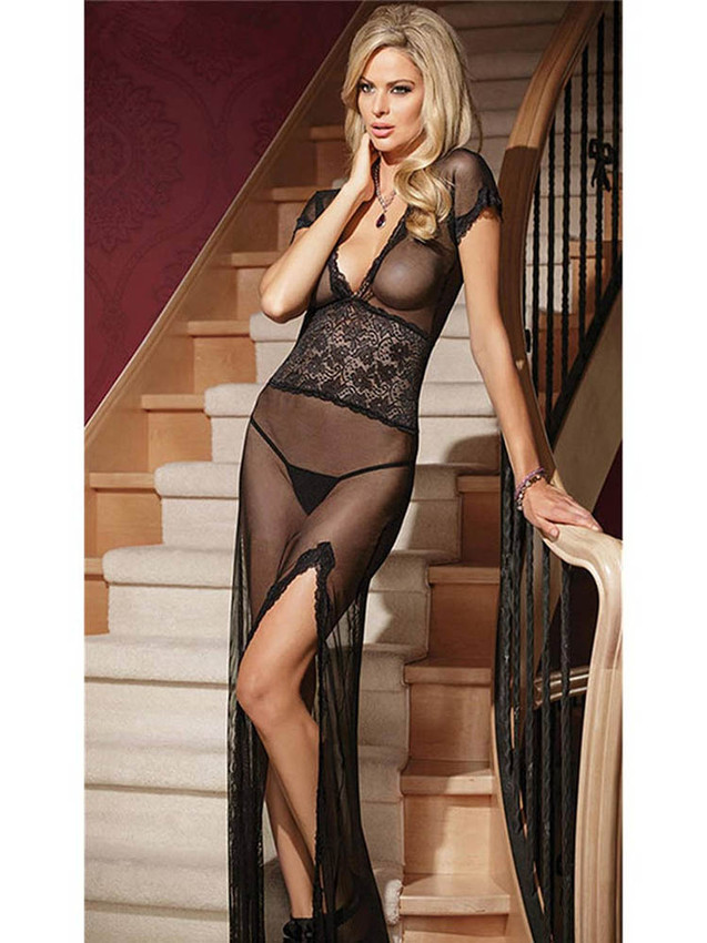 Beautiful Black Chemise Gown Lingerie With Deep V Neck Front And Back With A Side Slit Design