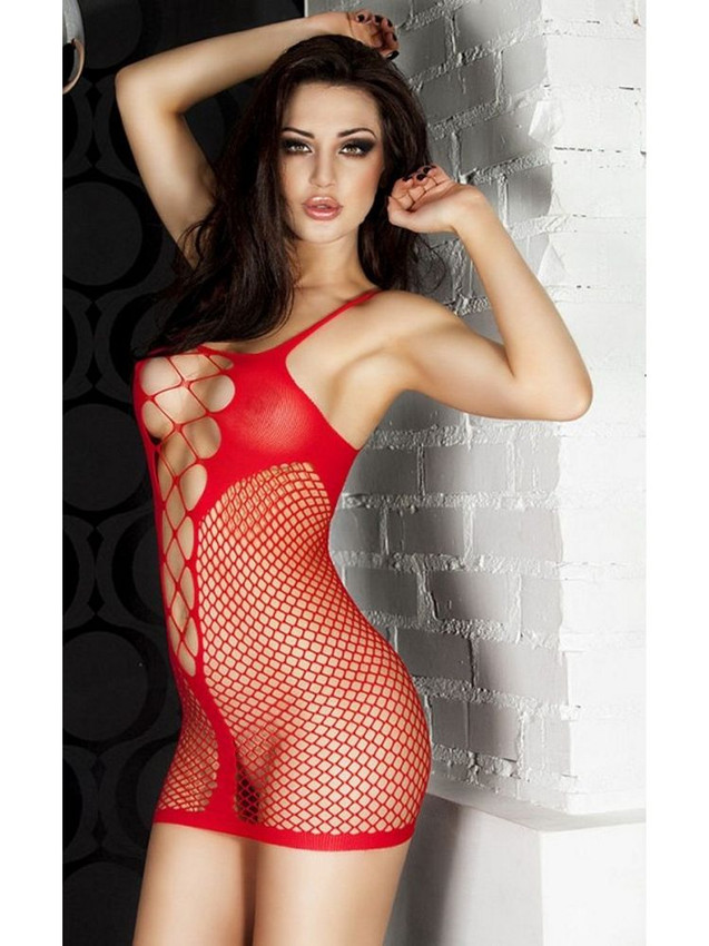 Fishnet Chemise Slip Lingerie With Erotic Exposure Design And Criss Cross Pattern