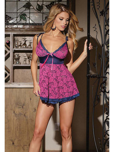 Pretty In Pink Floral Lace Babydoll Lingerie Equipped With Adjustable Shoulder Straps And Cut Out Back Design