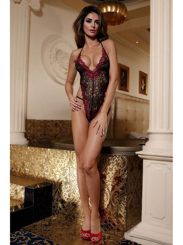 Sexy Open Back Lace Teddy Bodysuit Lingerie Equipped With Adjustable Back Straps, Halter Neck Design And V Front With Lovely Contrast Lace