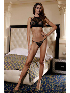 Seductive Lingerie Set With Sheer Bust Overlay Equipped With Adjustable Straps And Is Made With Nylon And Elastane