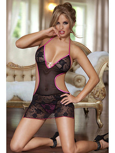 Risque Chemise Slip Lingerie With Sexy Cut Out Sides Equipped With Open Back, Contrast Trim, Floral Lace Cups, Sexy V Front Design With Halter Neck And Adjustable Ties