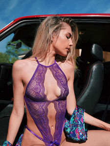 Intimate Teddy Lingerie With Revealing Keyhole Front Equipped With Adjustable Waist And Bra Straps, Romantic Floral Lace Design, Seductive Floral Lace Bottom And Is Made From Nylon And Elastane