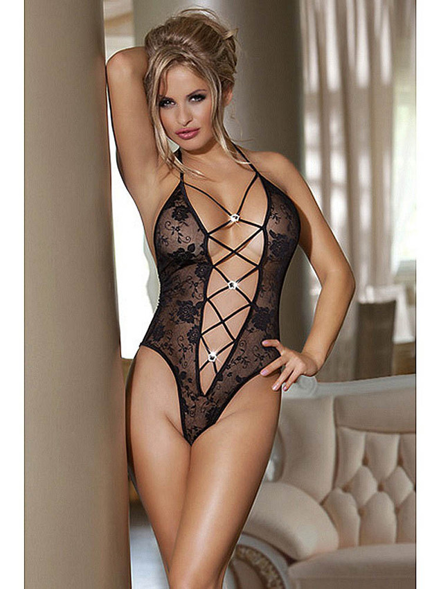 Risque Teddy Lingerie With Revealing Criss Cross Front Equipped With Deep V Front, Halter Neck And Adjustable Neck Tie