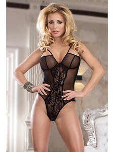 Intimate Mesh Teddy Lingerie With Revealing Strappy Bottom Equipped With Sheer Mesh Cups, Floral Lace Center, Adjustable Back Straps And Is Made With Nylon And Elastane