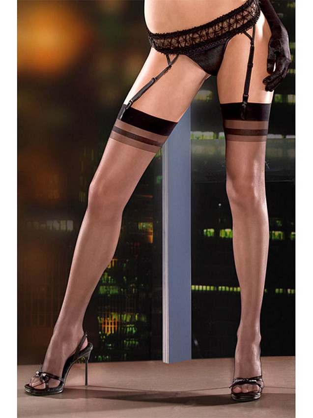 Sexy Thigh High Stockings With Solid Contrast Bands Made With Stretchable Nylon And Elastane And Is A Sheer Design Hosiery