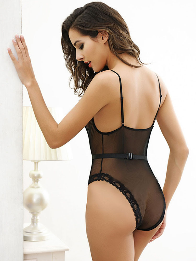 3cb296475 Teddy Bodysuit Lingerie With V Front And Removable Belt In Black Equipped  With Rhinestone Buckle. prev. next. See 1 more picture. Previous  Next