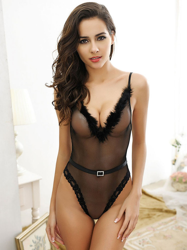 Teddy Bodysuit Lingerie With V Front And Removable Belt In Black Equipped With Rhinestone Buckle