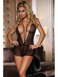 Sexy Teddy Lingerie With Sheer Mesh Design In Black Equipped With Deep V Front And Back, Mini Skirt Look And Adjustable Shoulder Straps