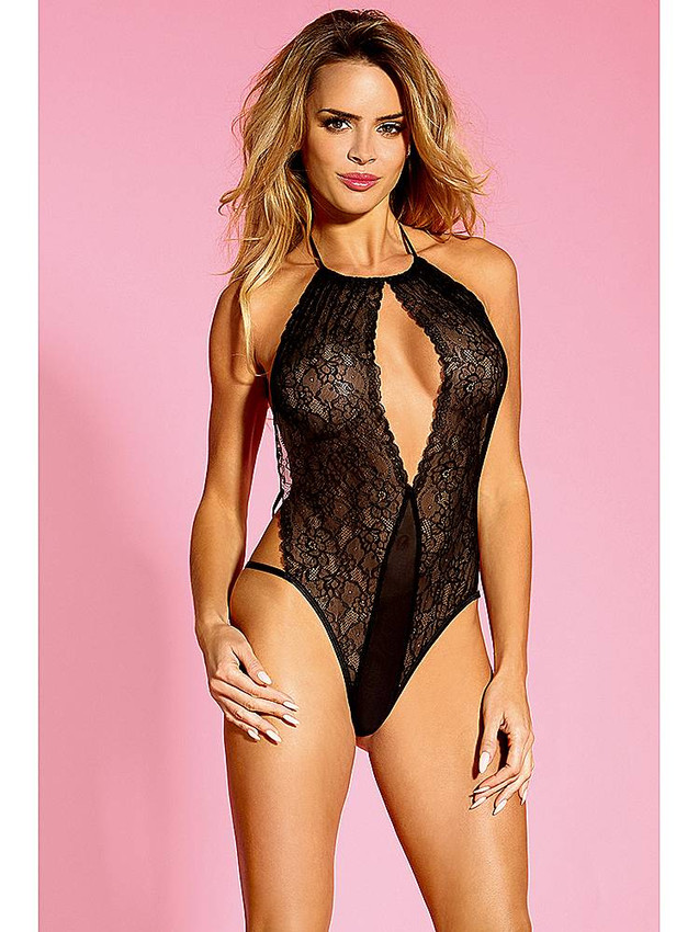 Teddy Lingerie With Floral Lace Design And Open Back Equipped With Keyhole Front, Adjustable Halter Neck Tie, Adjustable Straps And Is Made With Nylon And Elastane