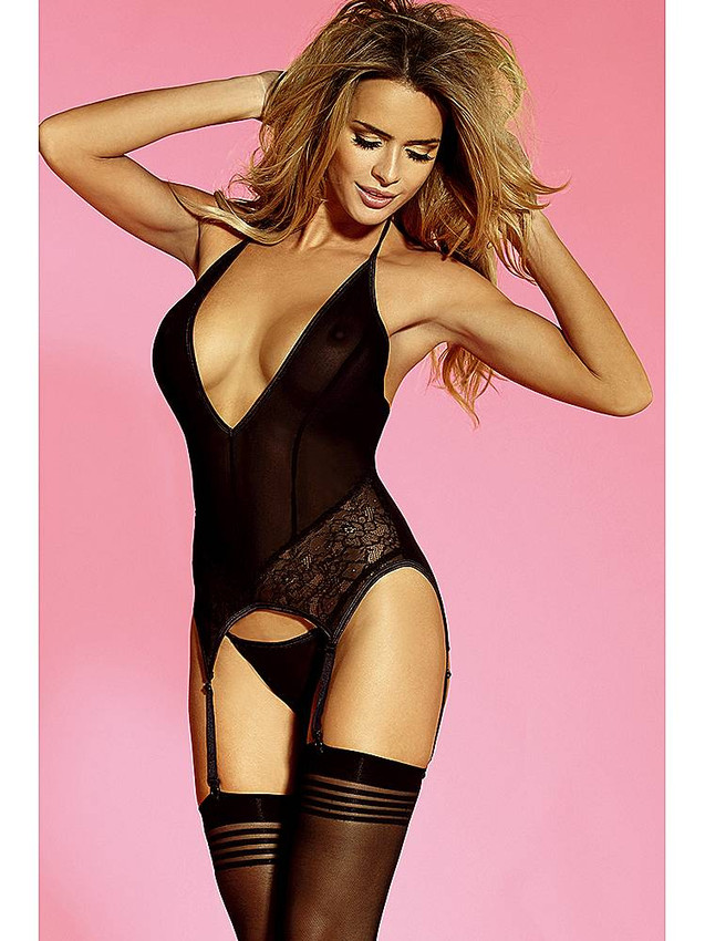 Seductive V Front Basque Garter Slip Lingerie With Thigh High Stockings In Black Equipped With Adjustable Halter Neck Tie, Sexy Open Back And G String