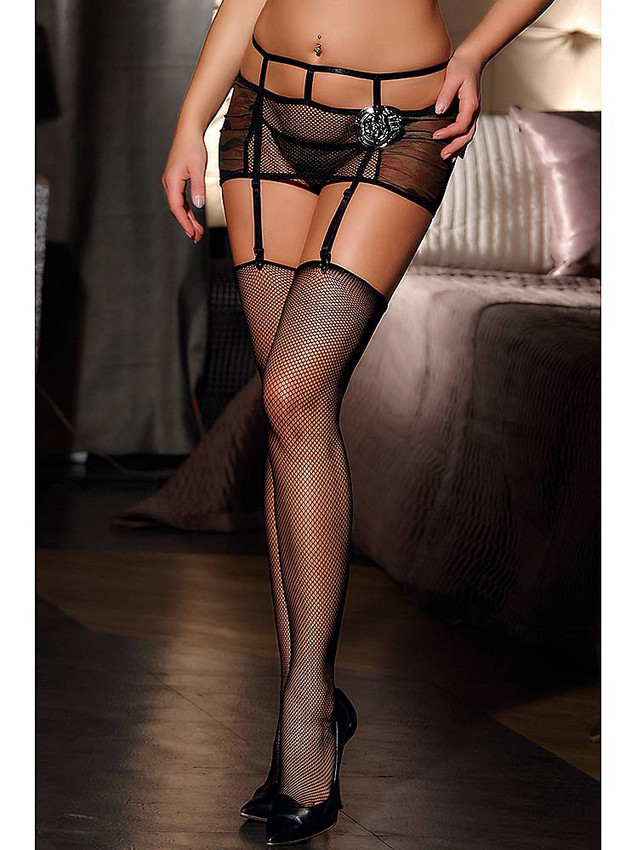 Sexy Diamond Net Thigh High Stockings In Black Made With Stretchable Nylon And Spandex