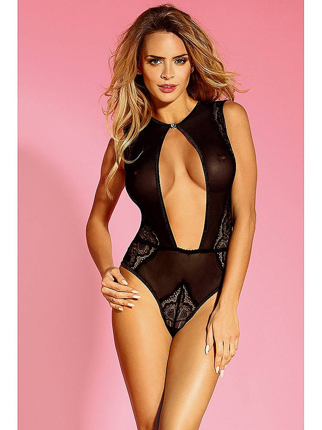 670881dc88c Classy Teddy Lingerie With Open Back Design In Black Equipped With Lovely  Lace Panels, Heart