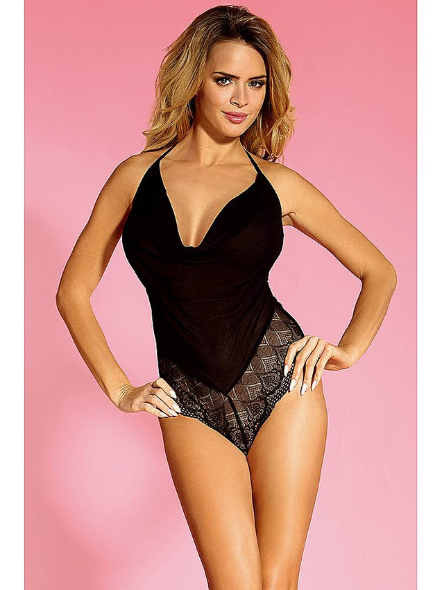Classy Teddy Lingerie With Open Back Design In Black Equipped With Lovely Lace Panels, Heart Shape Clasp And Semi Open Front Design