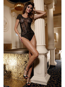 e6f21f84066 Lovely Lacy Teddy Bodysuit Lingerie With Full Front Coverage In Black  Equipped With Shiny Embellishments,