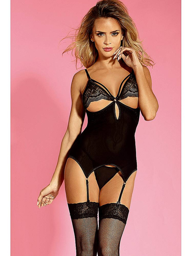 Sexy Basque Garter Slip Lingerie With Semi Breast Coverage And Thigh High Stockings Equipped With Adjustable Shoulder Straps, Adjustable Garter Slip And G String