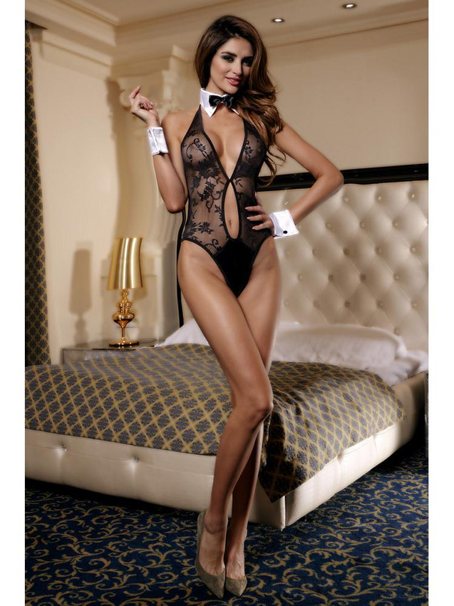 Sexy Teddy Lingerie With Bow Tie Collar And White Cuffs, Equipped With V Front And Keyhole Design, Adjustable Halter Neck and Clasp Back Closure And Is Made With Nylon And Elastane
