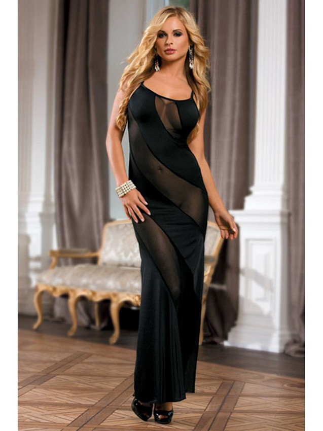 Gorgeous Chemise Gown Lingerie With Adjustable Shoulder Straps Equipped With Stretchable Satin And Mesh Design And Is A Long Flowy Dress