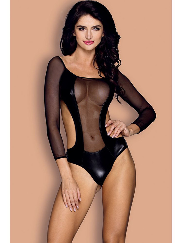 Sexy Teddy Bodysuit Lingerie With Long Sleeve Design Equipped With Sheer Front And A Bra And Panty Style Back