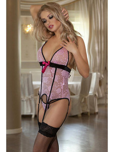 Seductive Pink Basque Garter Slip Lingerie And Thigh High Stockings Equipped With Adjustable Halter Neck, Open Back Design, Floral Lace V Front, Contrasting Black Trim With G String