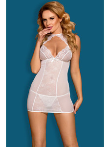 Provocative Chemise Slip Lingerie With Sheer Front Design Equipped With Adjustable Halter Collar Neck, Lace Cups, Decorative Satin Bow With G String