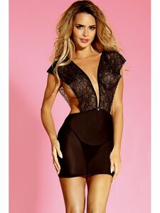 Risqué Chemise Slip Lingerie With Deep V Front Design Equipped With Mid V Back, Decorative Satin Bow With G String