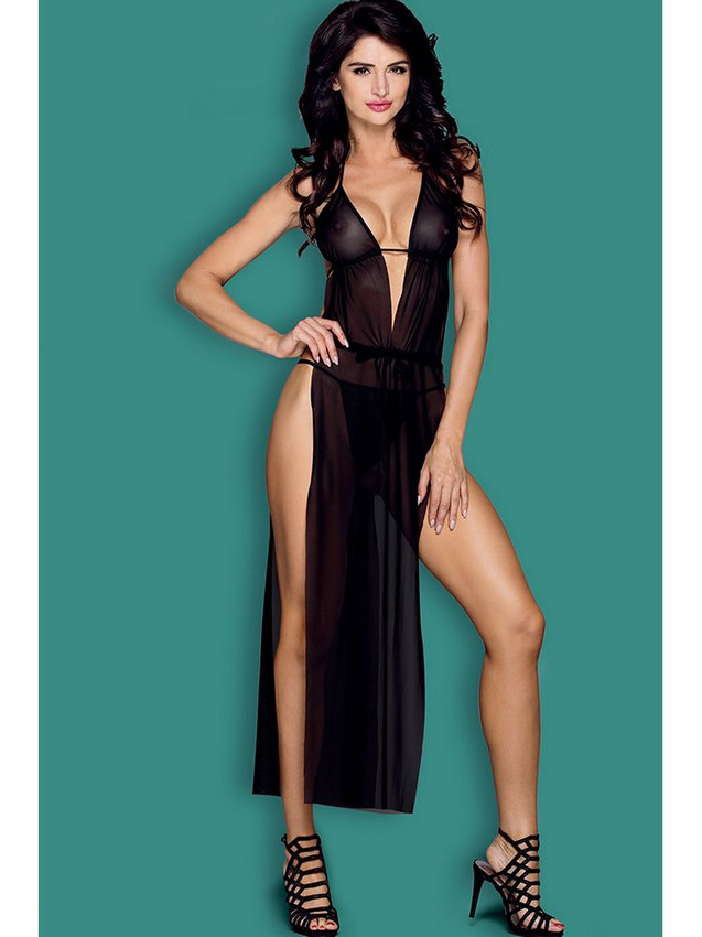 Tantalising Gown Lingerie With Open Sides Equipped With Adjustable Halter Neck, Adjustable Back Tie, Deep V Front With G String